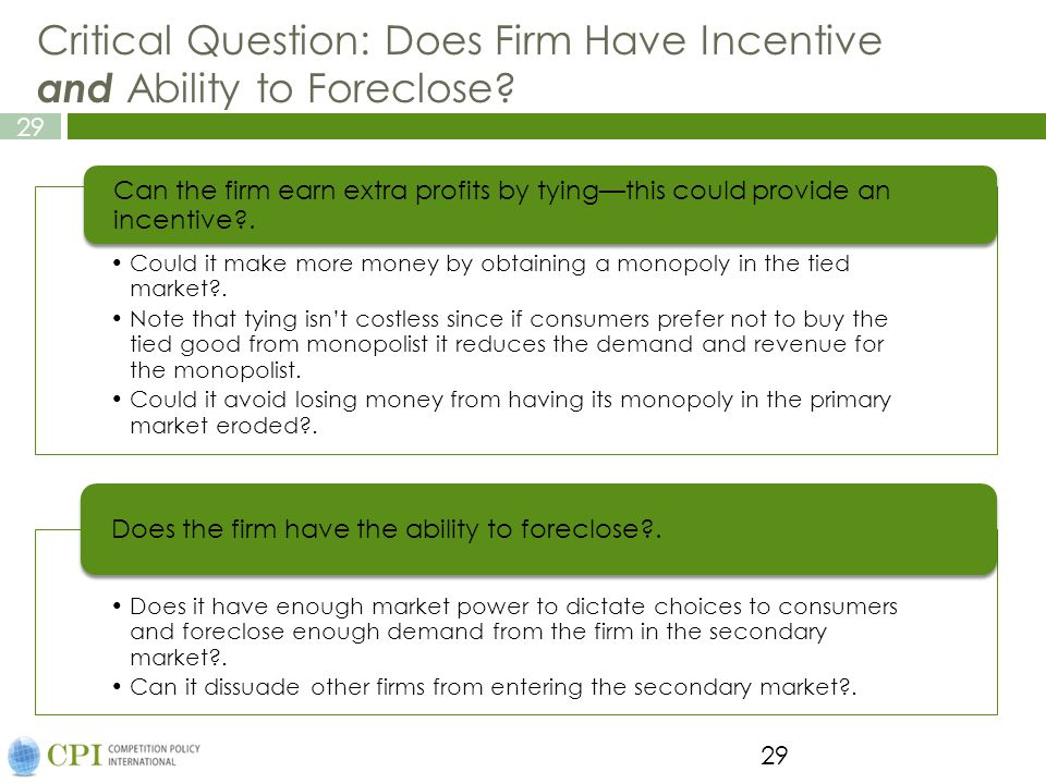 Critical Question: Does Firm Have Incentive and Ability to Foreclose