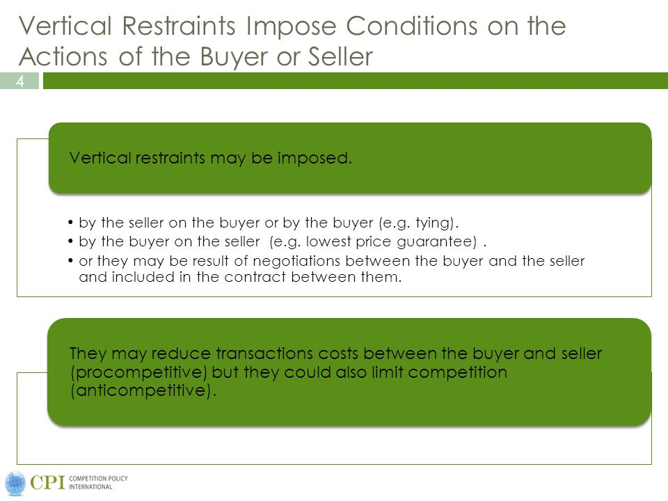 Vertical Restraints Impose Conditions on the Actions of the Buyer or Seller