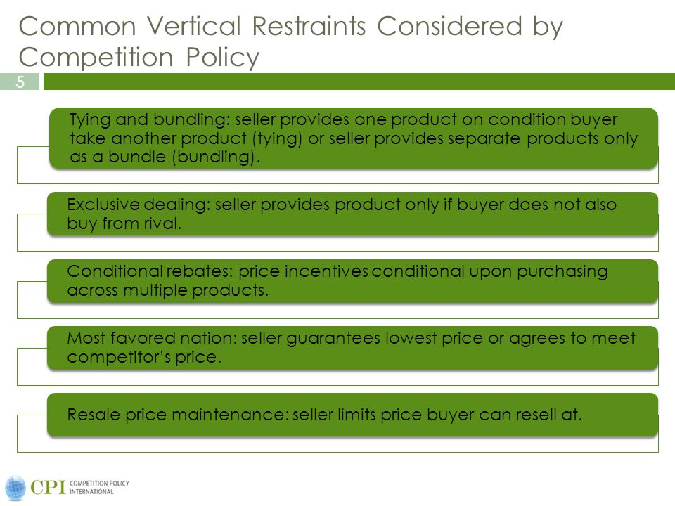 Common Vertical Restraints Considered by Competition Policy