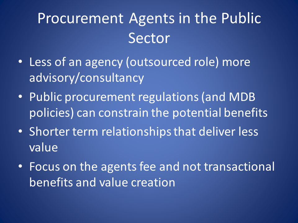 Procurement Agents in the Public Sector