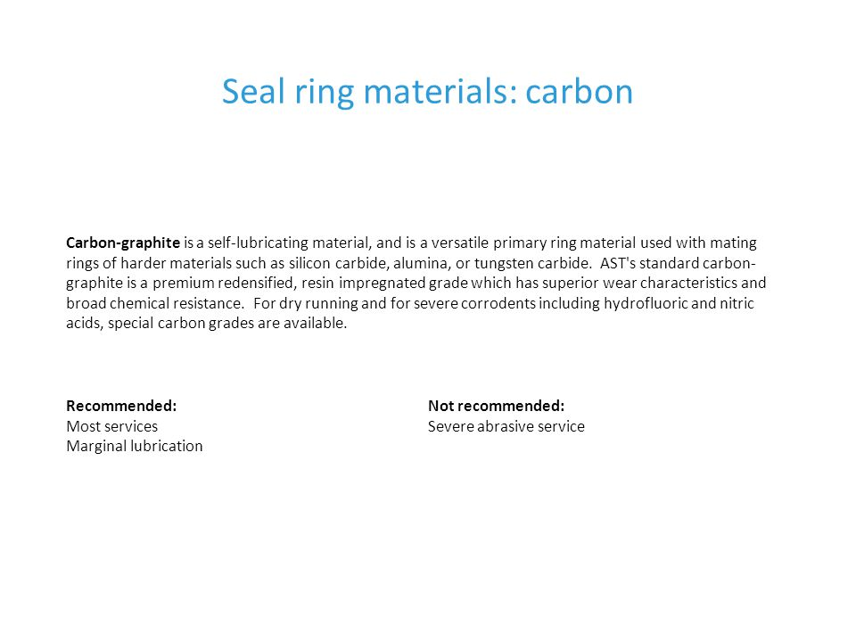 Seal ring materials: carbon