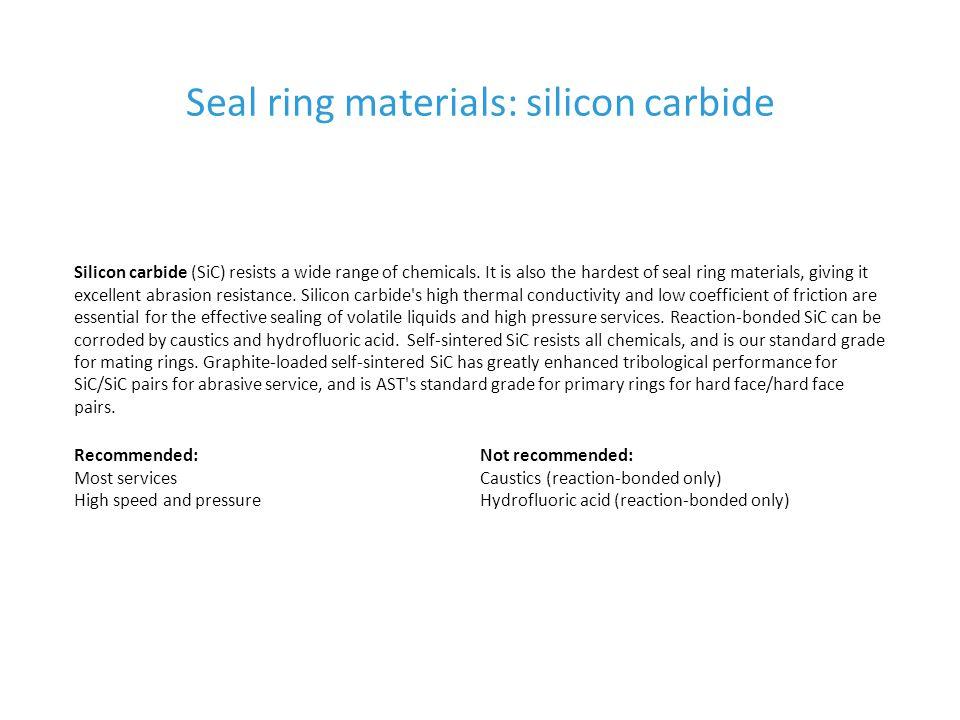 Seal ring materials: silicon carbide