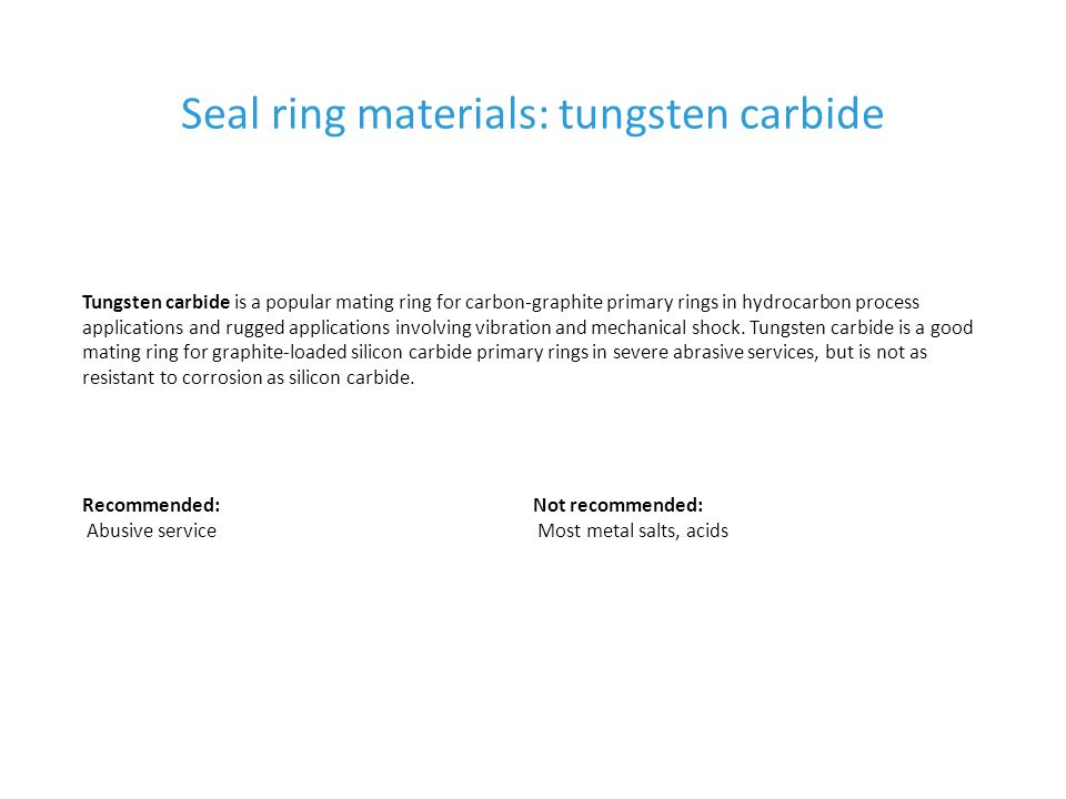 Seal ring materials: tungsten carbide
