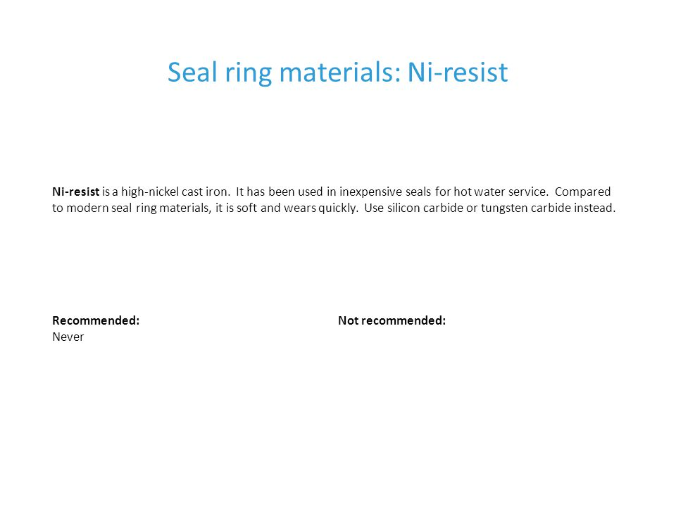 Seal ring materials: Ni-resist