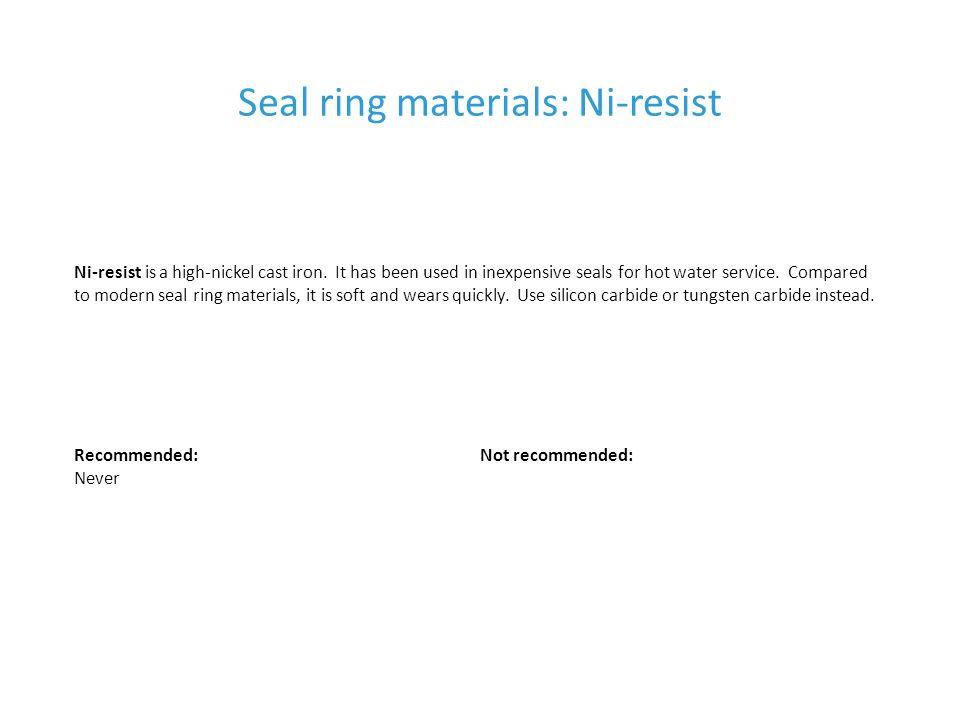 Seal ring materials: Ni-resist