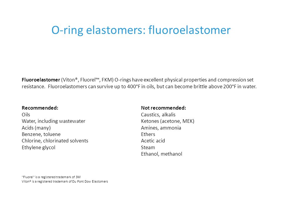 O-ring elastomers: fluoroelastomer