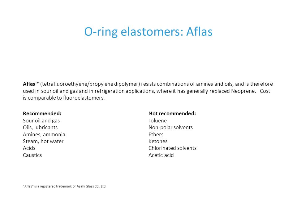 O-ring elastomers: Aflas