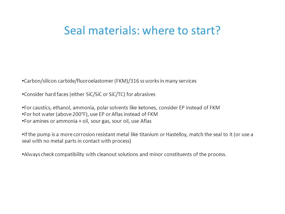 Seal materials: where to start