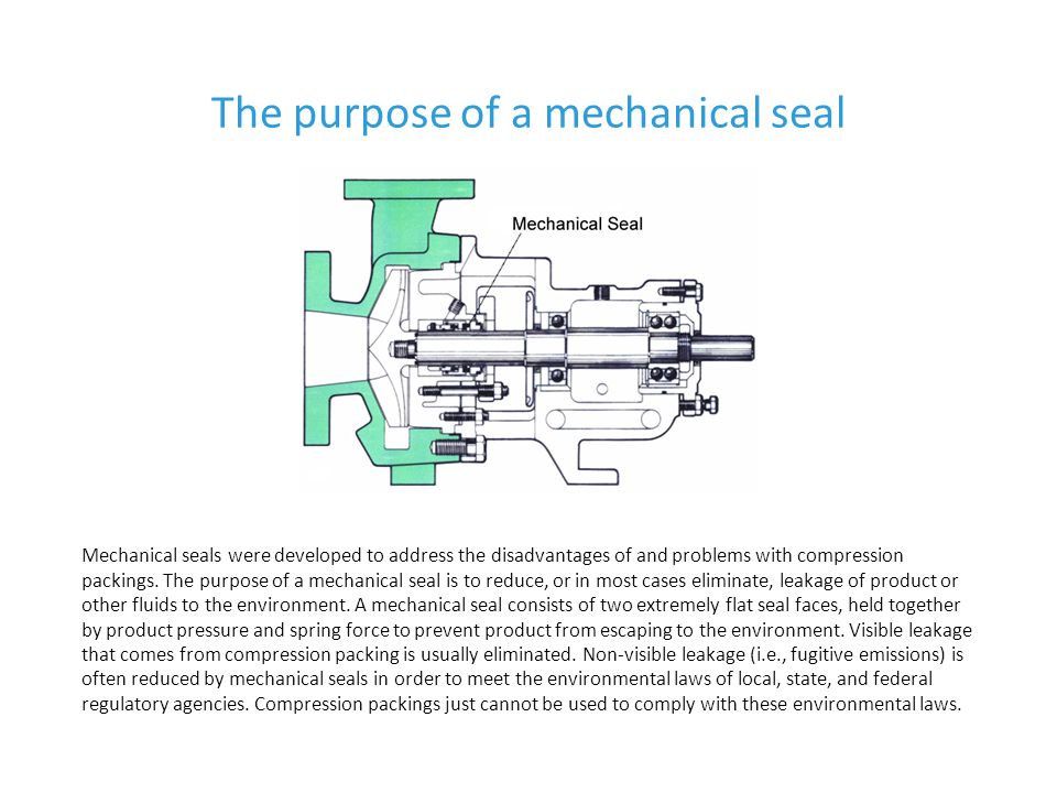 The purpose of a mechanical seal