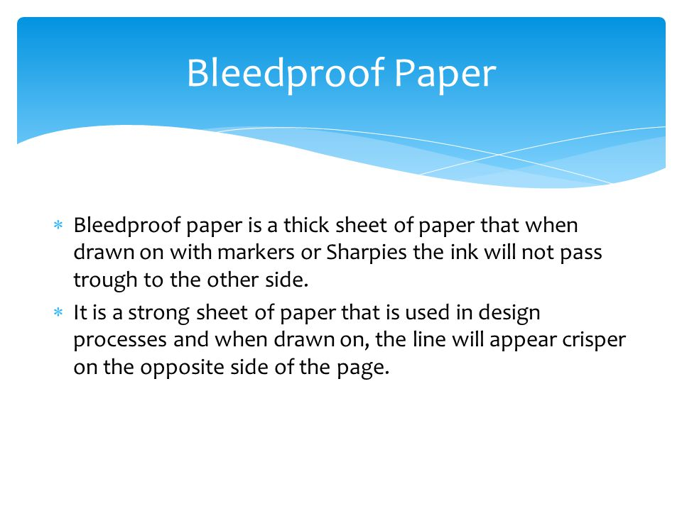Bleedproof Paper