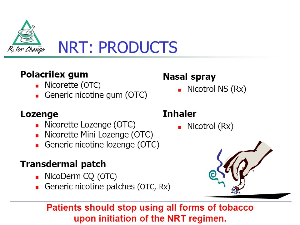 NRT: PRODUCTS Polacrilex gum Lozenge Transdermal patch Nasal spray