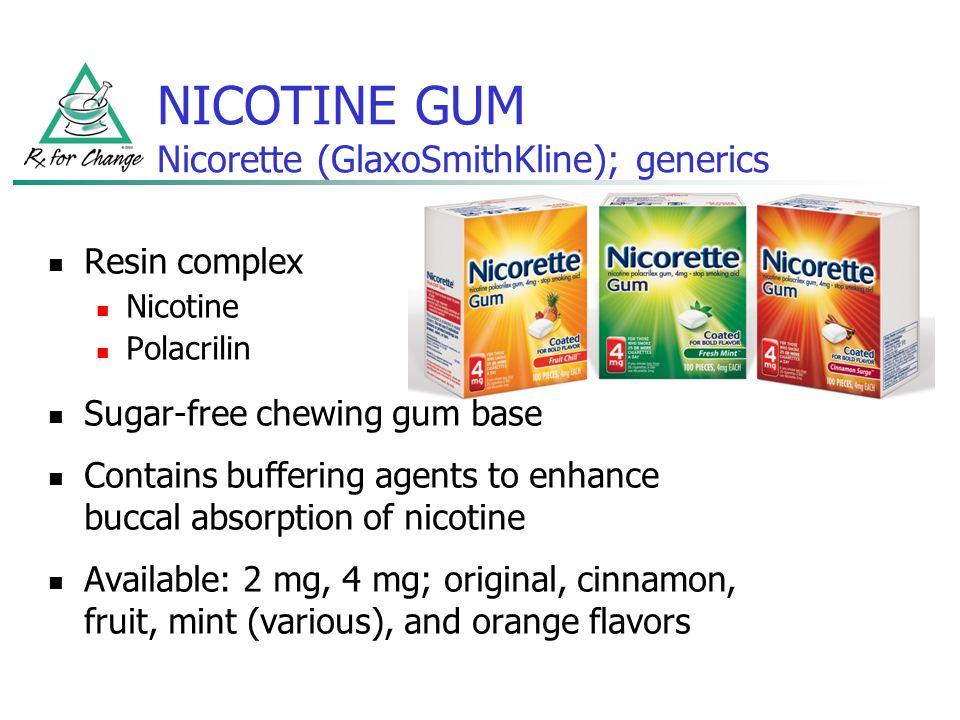 NICOTINE GUM Nicorette (GlaxoSmithKline); generics