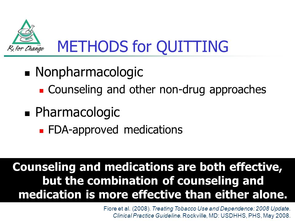 METHODS for QUITTING Nonpharmacologic Pharmacologic