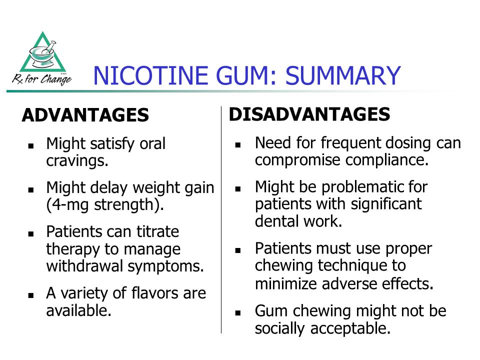 NICOTINE GUM: SUMMARY ADVANTAGES DISADVANTAGES