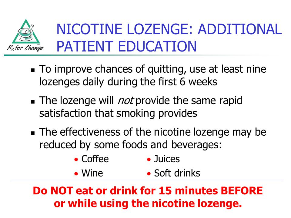 NICOTINE LOZENGE: ADDITIONAL PATIENT EDUCATION