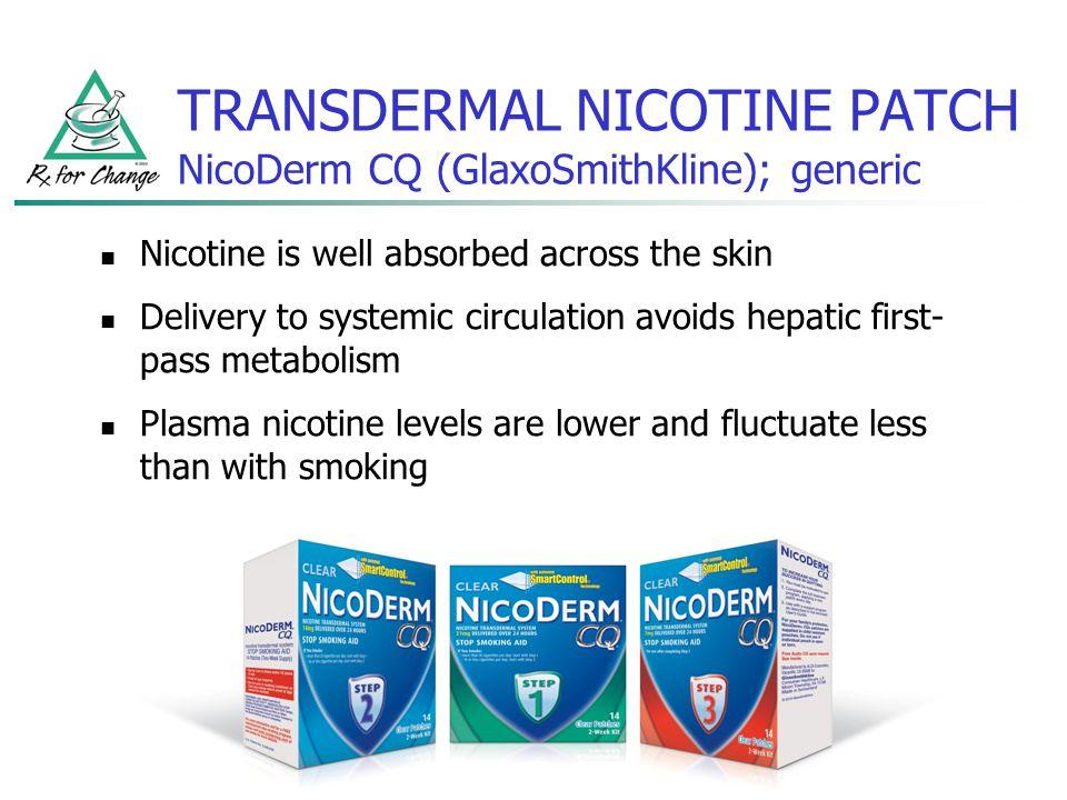TRANSDERMAL NICOTINE PATCH NicoDerm CQ (GlaxoSmithKline); generic