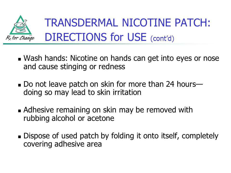TRANSDERMAL NICOTINE PATCH: DIRECTIONS for USE (cont'd)