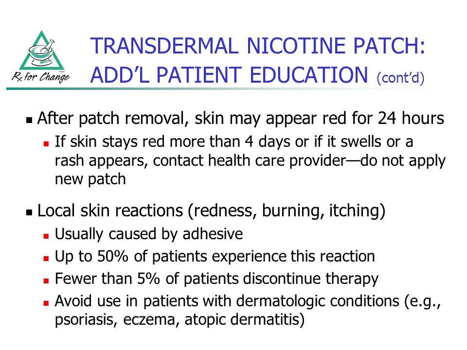 TRANSDERMAL NICOTINE PATCH: ADD'L PATIENT EDUCATION (cont'd)
