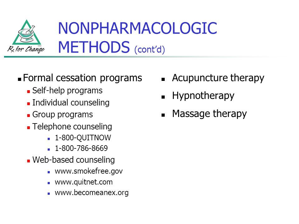 NONPHARMACOLOGIC METHODS (cont'd)