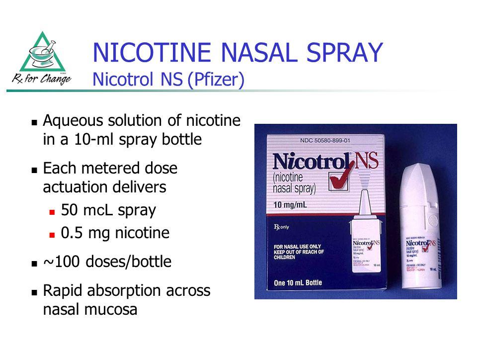 NICOTINE NASAL SPRAY Nicotrol NS (Pfizer)