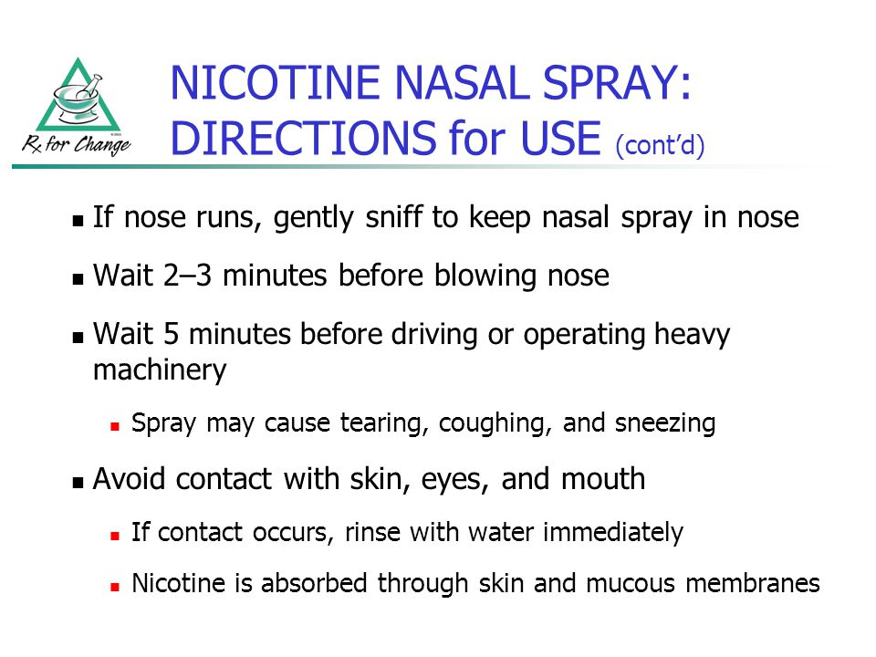NICOTINE NASAL SPRAY: DIRECTIONS for USE (cont'd)
