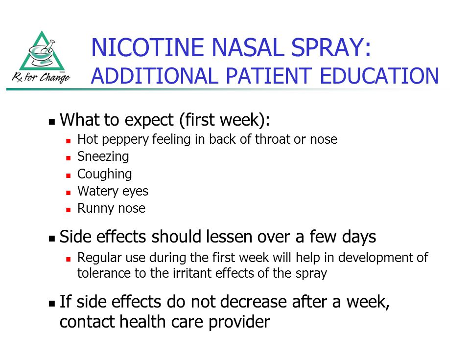 NICOTINE NASAL SPRAY: ADDITIONAL PATIENT EDUCATION