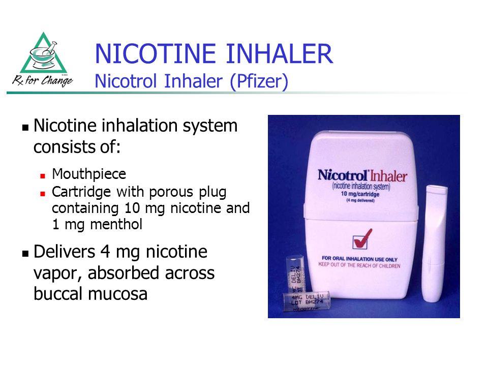 NICOTINE INHALER Nicotrol Inhaler (Pfizer)