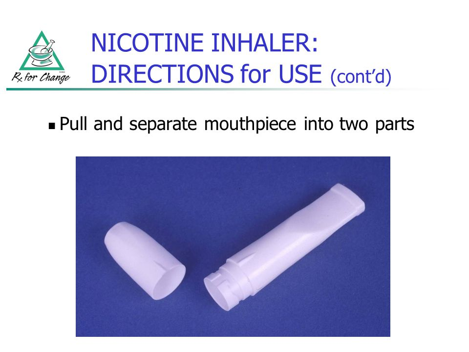 NICOTINE INHALER: DIRECTIONS for USE (cont'd)