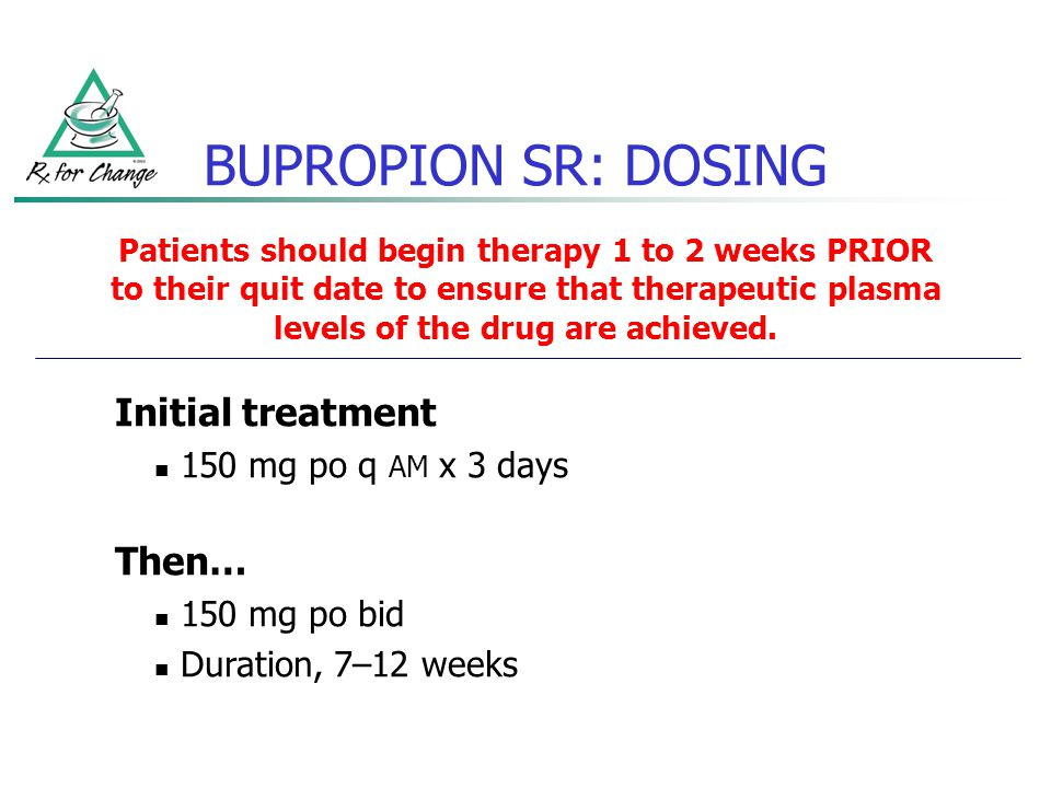 Patients should begin therapy 1 to 2 weeks PRIOR