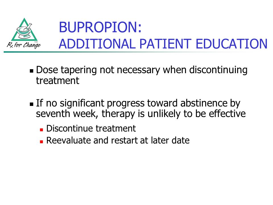 BUPROPION: ADDITIONAL PATIENT EDUCATION