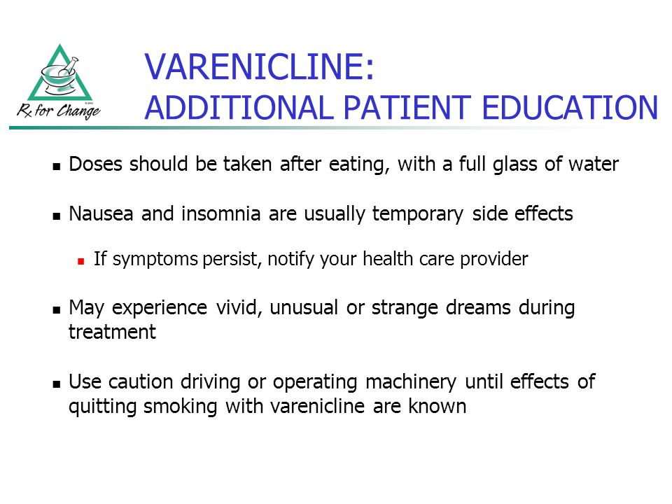 VARENICLINE: ADDITIONAL PATIENT EDUCATION