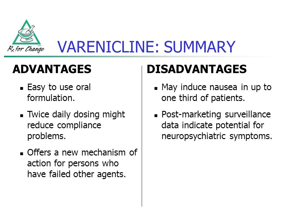 VARENICLINE: SUMMARY ADVANTAGES DISADVANTAGES