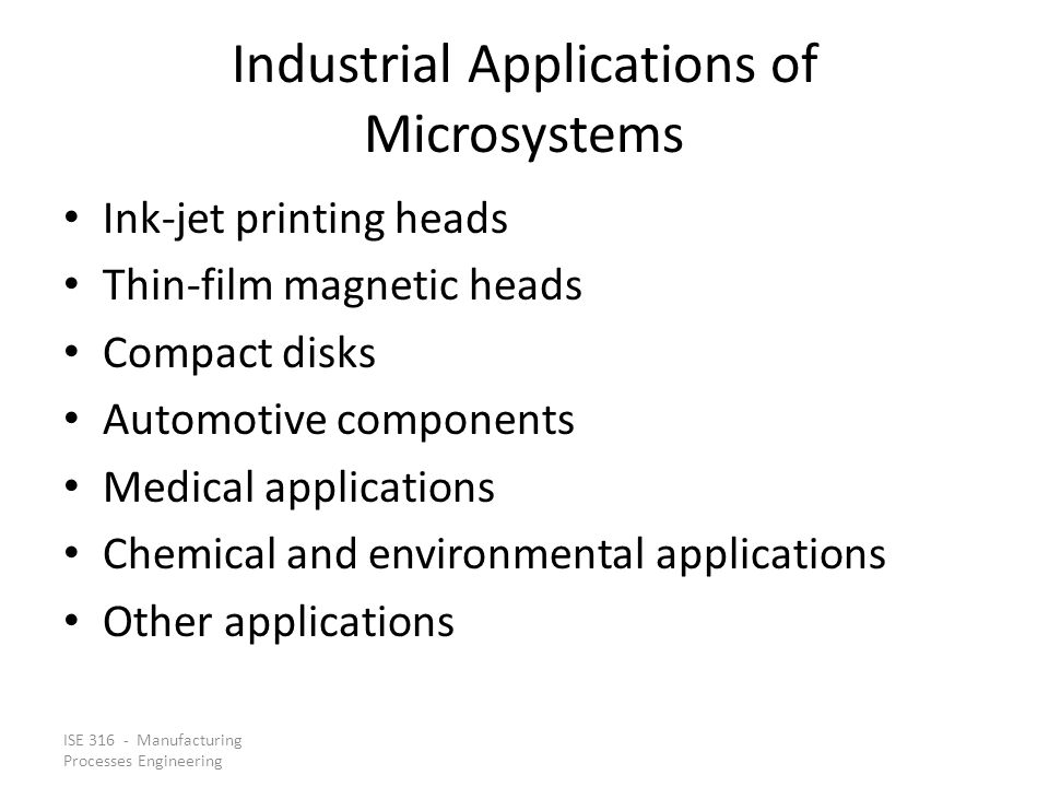 Industrial Applications of Microsystems