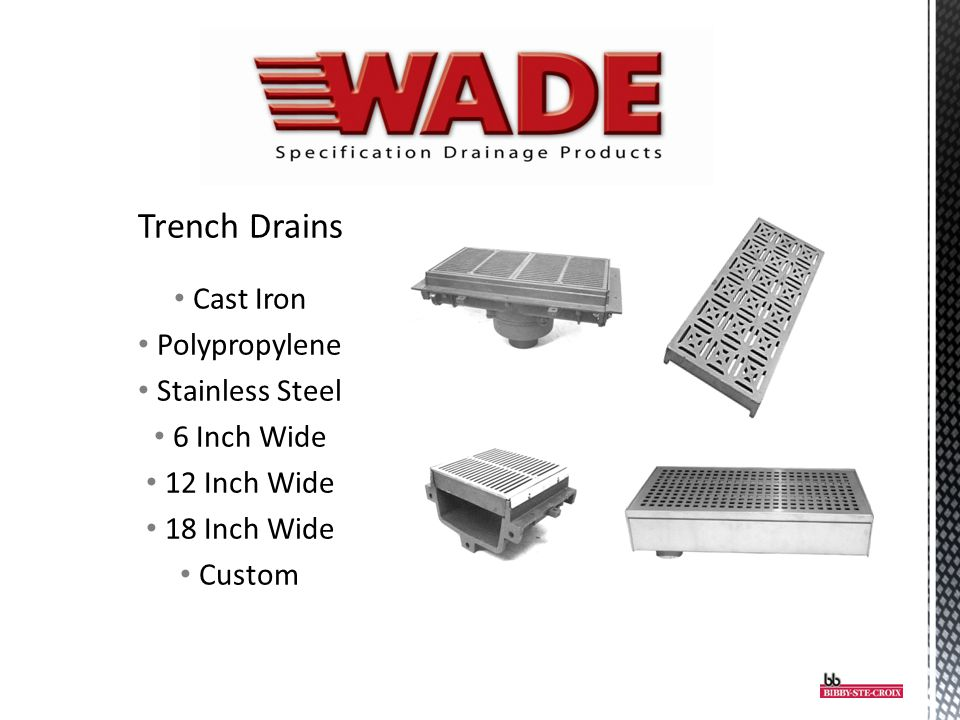 Trench Drains Cast Iron Polypropylene Stainless Steel 6 Inch Wide