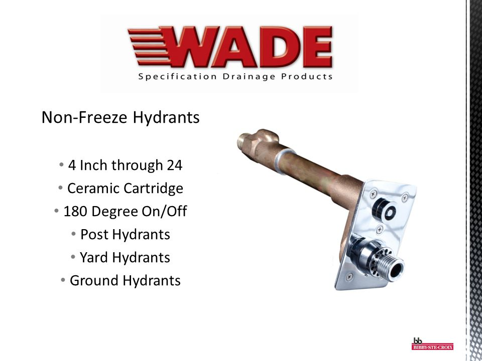 Non-Freeze Hydrants 4 Inch through 24 Ceramic Cartridge