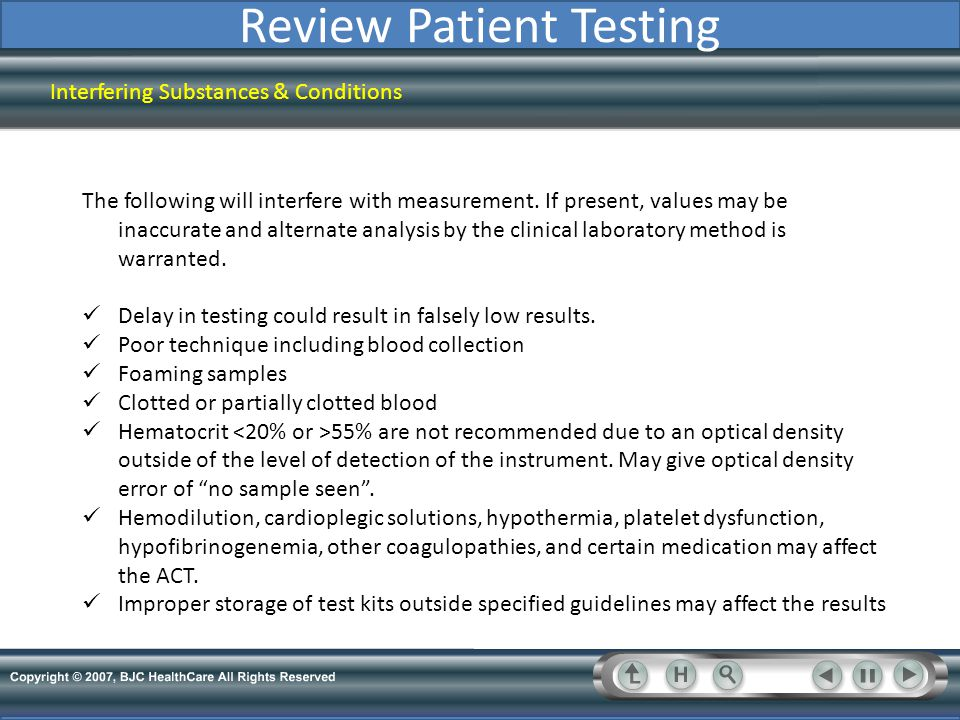 Review Patient Testing