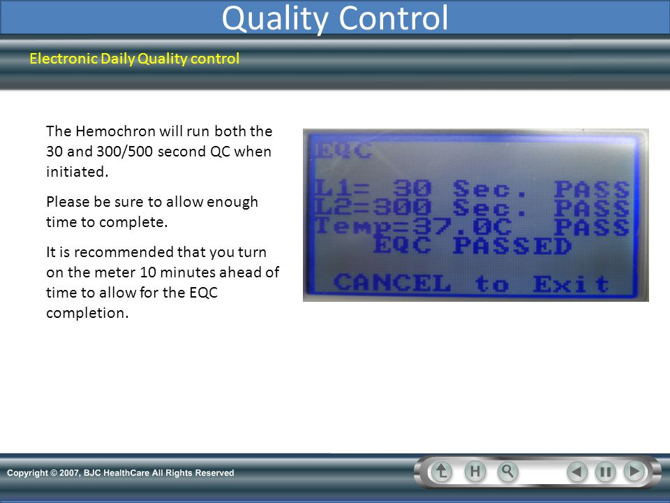 Quality Control Electronic Daily Quality control