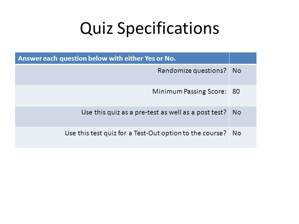 Quiz Specifications Answer each question below with either Yes or No.
