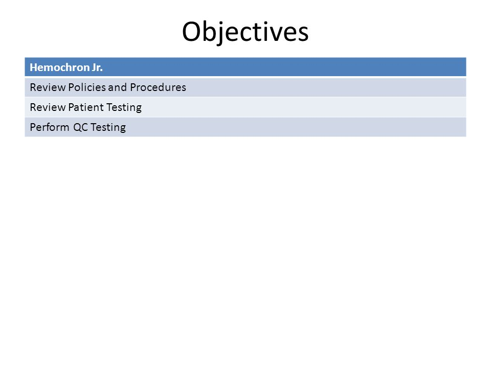 Objectives Hemochron Jr. Review Policies and Procedures