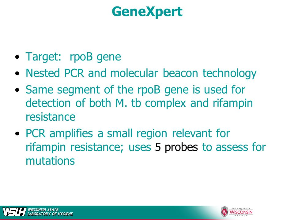 GeneXpert Target: rpoB gene Nested PCR and molecular beacon technology