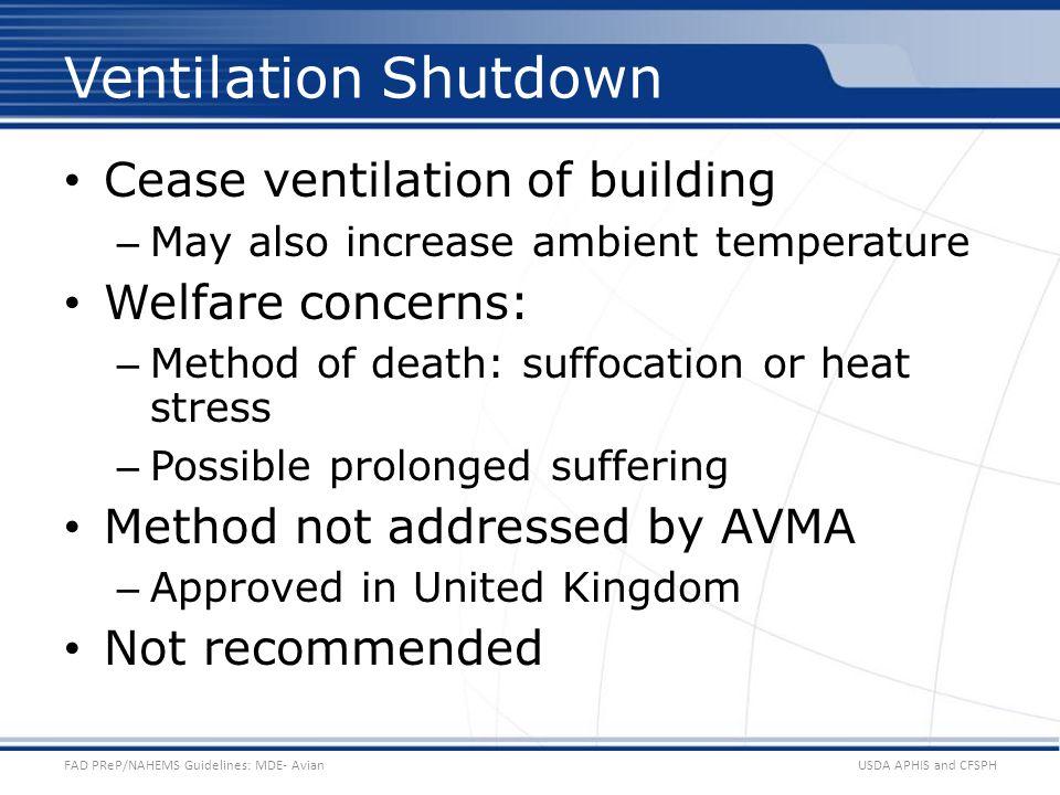 Ventilation Shutdown Cease ventilation of building Welfare concerns: