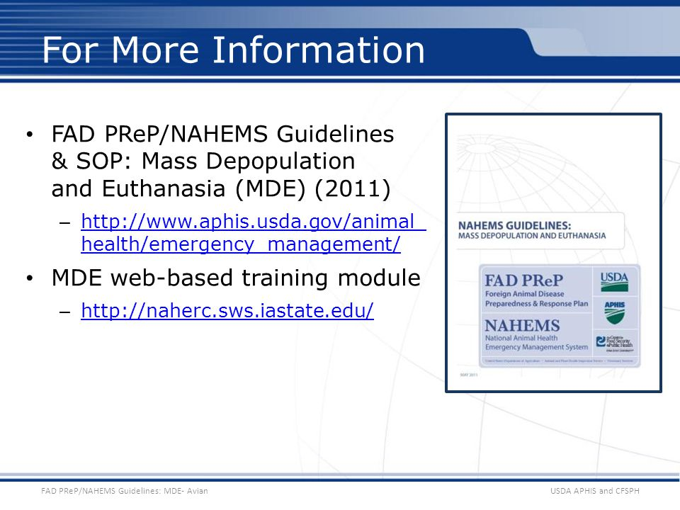 Test Template HANDS 2011-03 For More Information. FAD PReP/NAHEMS Guidelines & SOP: Mass Depopulation and Euthanasia (MDE) (2011)