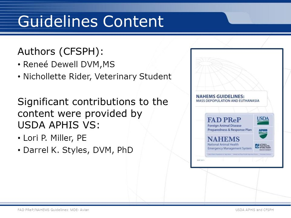 Guidelines Content Authors (CFSPH):
