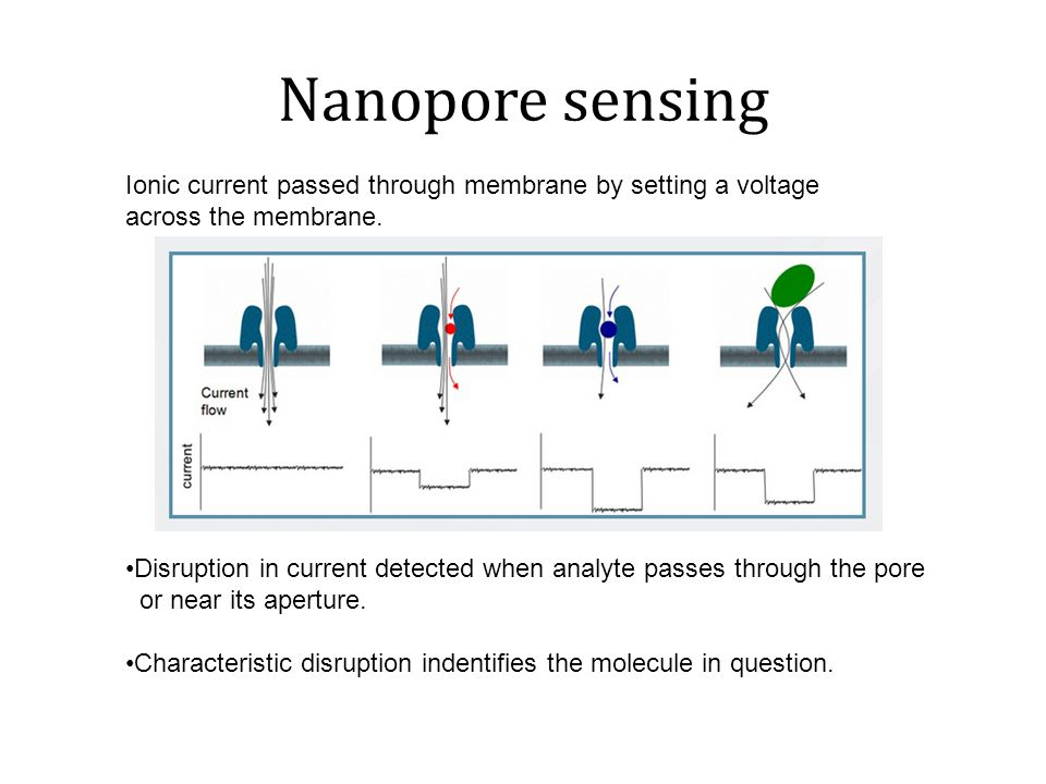 Nanopore sensing Ionic current passed through membrane by setting a voltage across the membrane.