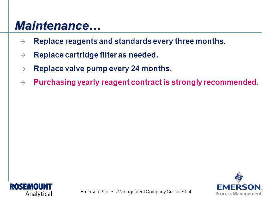 Maintenance… Replace reagents and standards every three months.