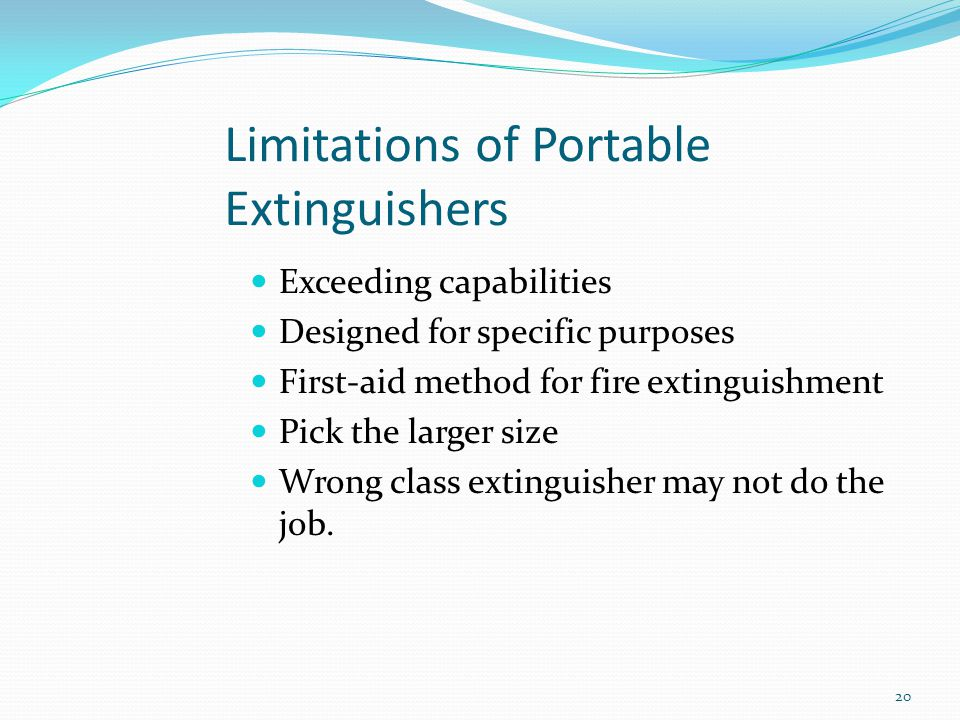 Limitations of Portable Extinguishers