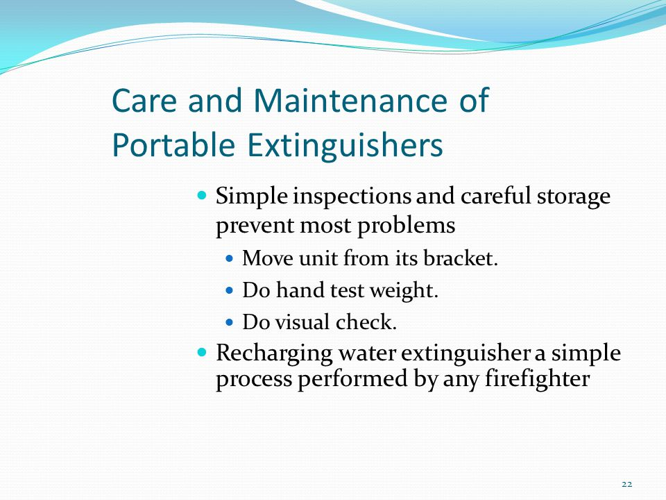 Care and Maintenance of Portable Extinguishers