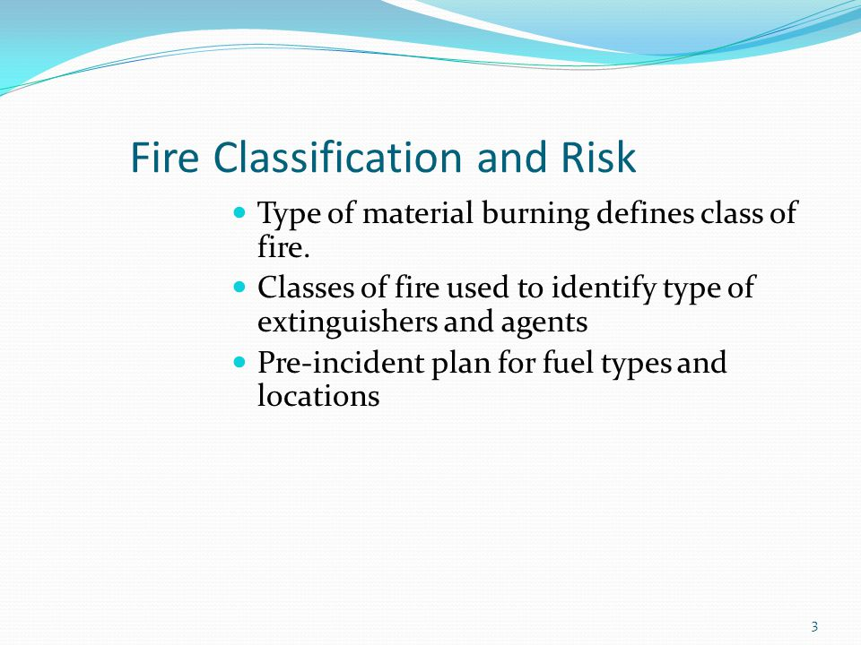Fire Classification and Risk
