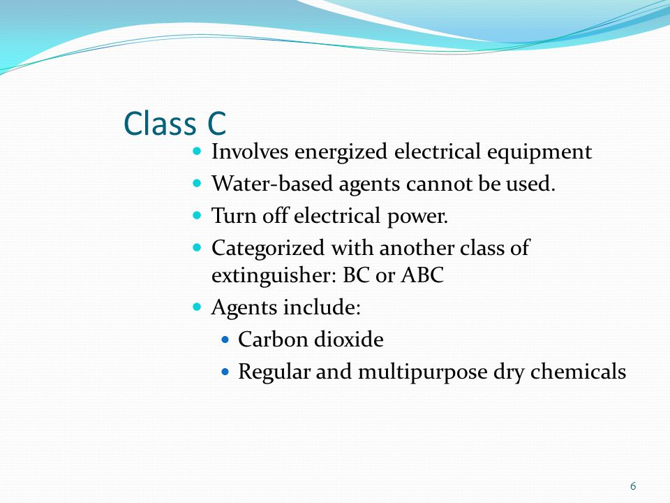 Class C Involves energized electrical equipment