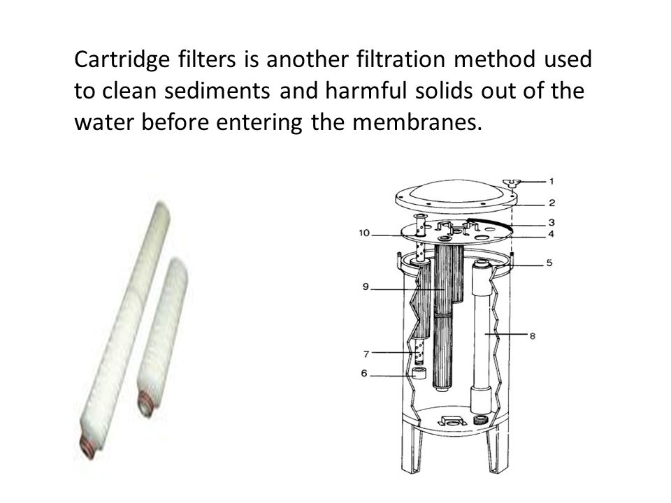 Cartridge filters is another filtration method used to clean sediments and harmful solids out of the water before entering the membranes.